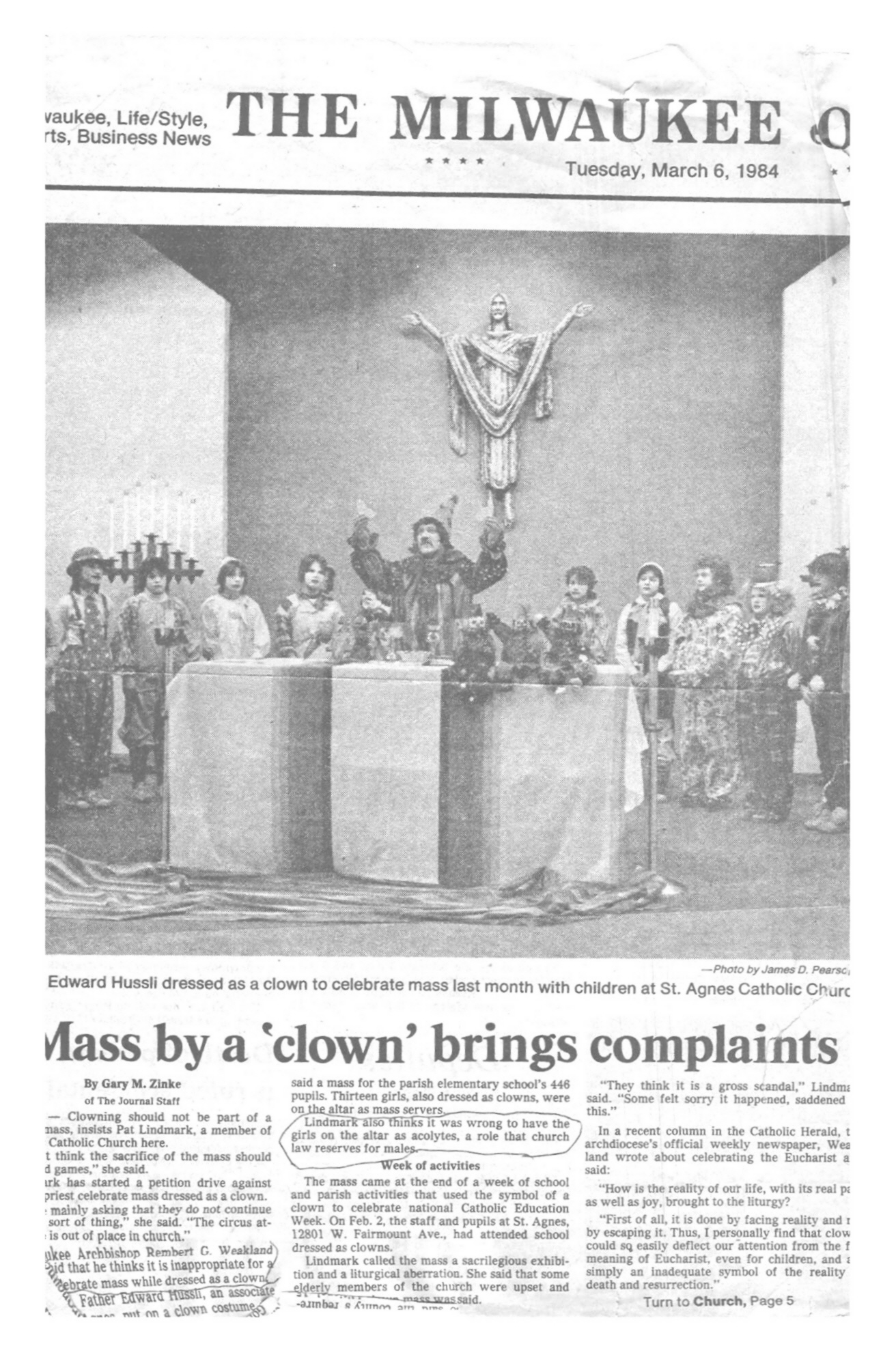 Mass by a 'clown' brings complaints, by Gary M. Zinke, Milwaukee Journal, March 6, 1984