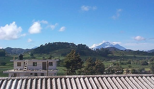 Volcanoes Agua, Acetenango, and Fuego, from the veranda